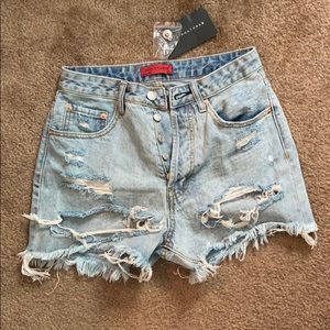 Pants - High waisted distressed jean shorts